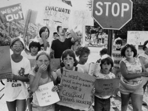 Local children in Niagara Falls, New York, protest toxic contamination of Love Canal, as seen in the documentary A Fierce Green Fire: The Battle for a Living Planet. Photo by the Buffalo Times-Courier, courtesy of the Butler Library at Buffalo State.